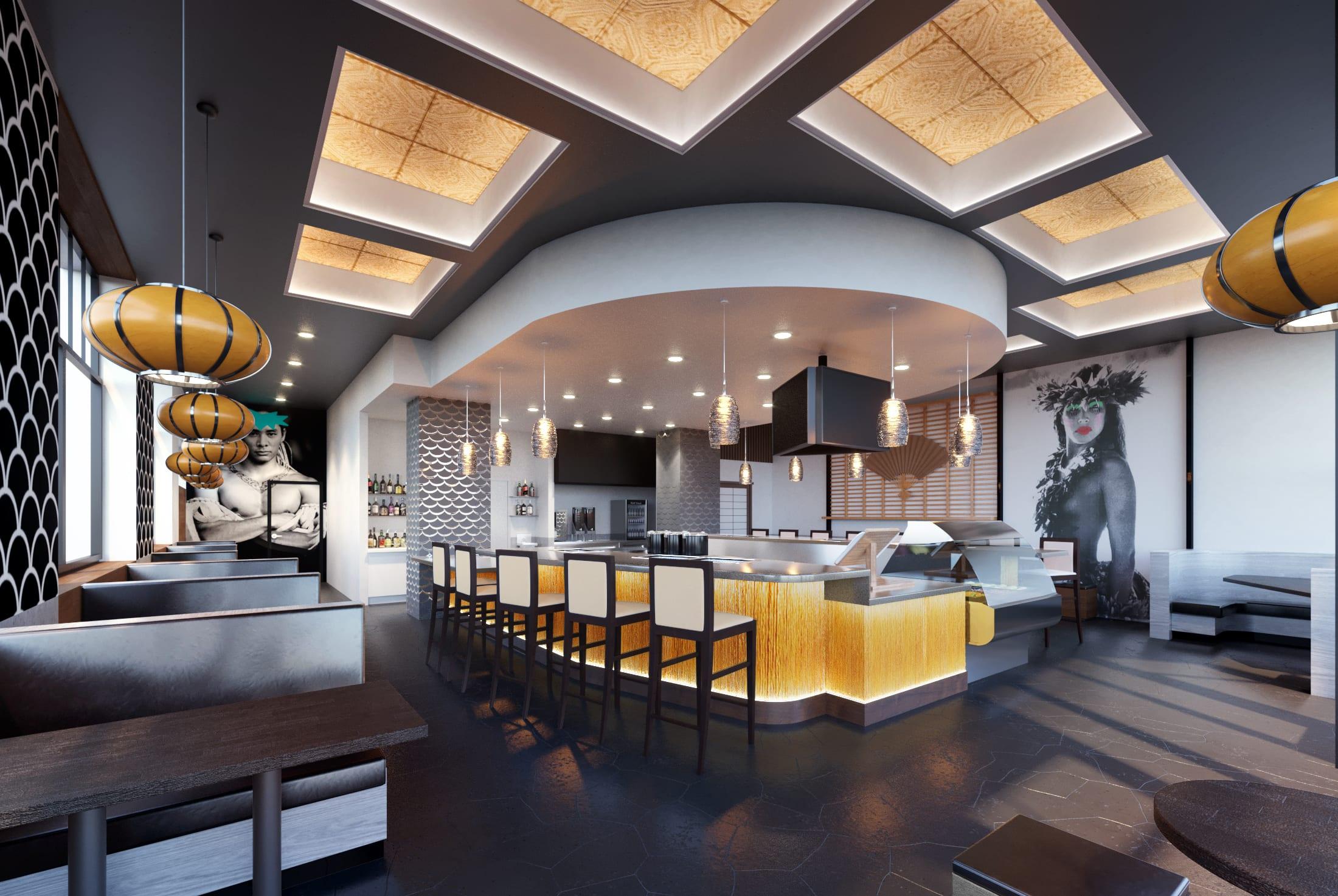 Lemonshark Poke Makai Grill Interior Design