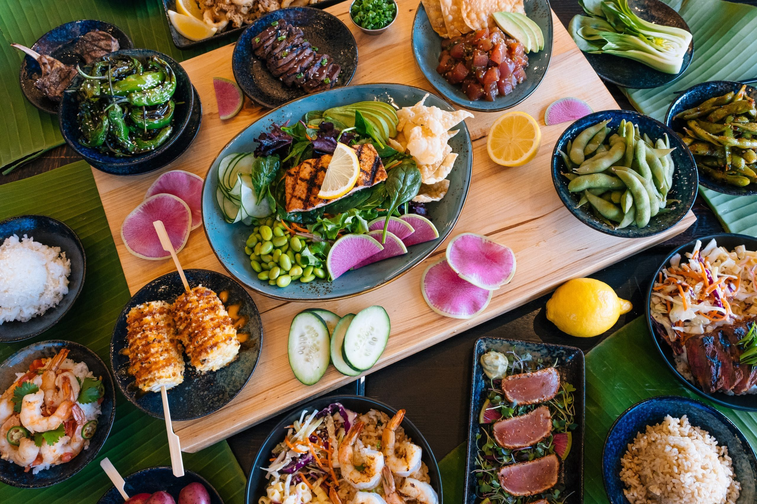 Makai Food and Poke Spread out on a table
